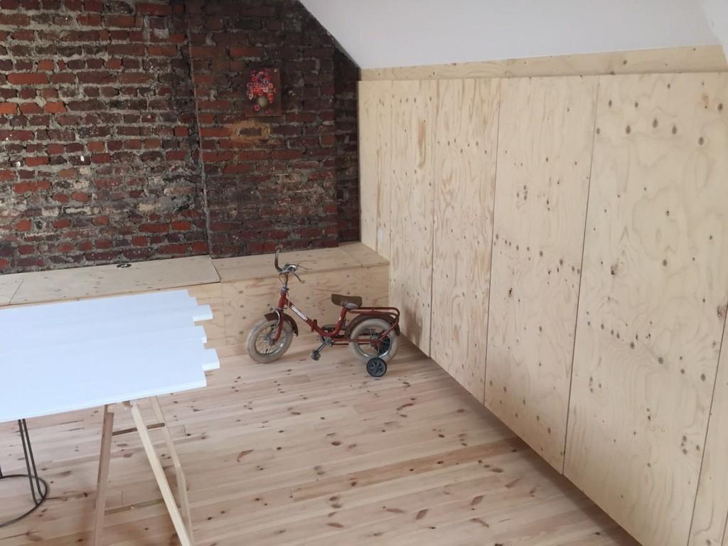 Zolder inbouwkasten zitbanken